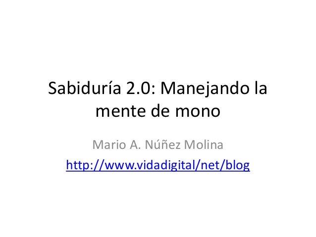 Sabiduría 2.0: Manejando la  mente de mono  Mario A. Núñez Molina  http://www.vidadigital/net/blog