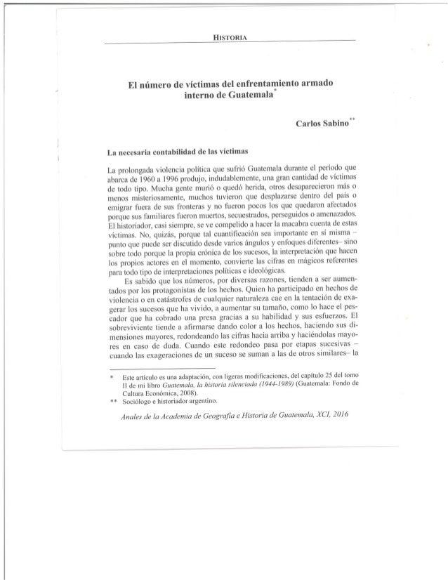 """Carlos Sabino, """"El número de víctimas del enfrentamiento armado interno de Guatemala."""""""