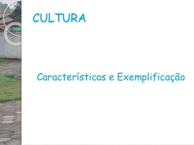 CULTURA Características e Exemplificação