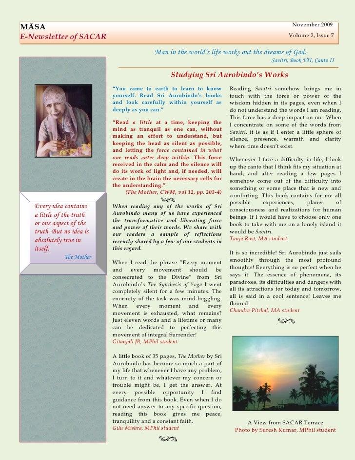 November 2009 MĀSA E-Newsletter of SACAR                                                                             Volum...