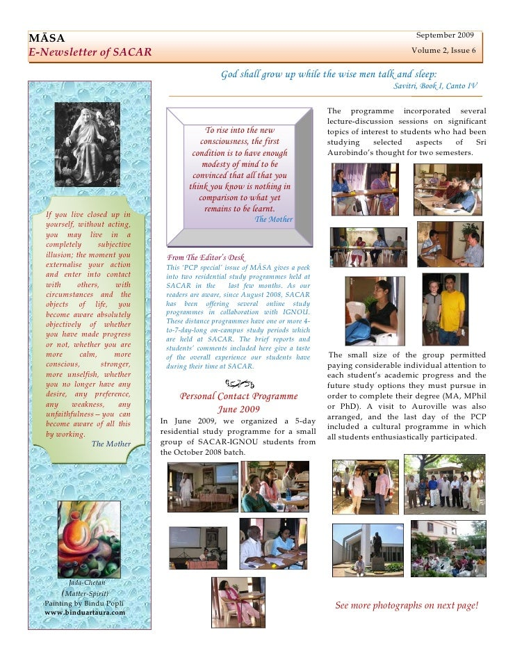 September 2009 MĀSA E-Newsletter of SACAR                                                                                 ...