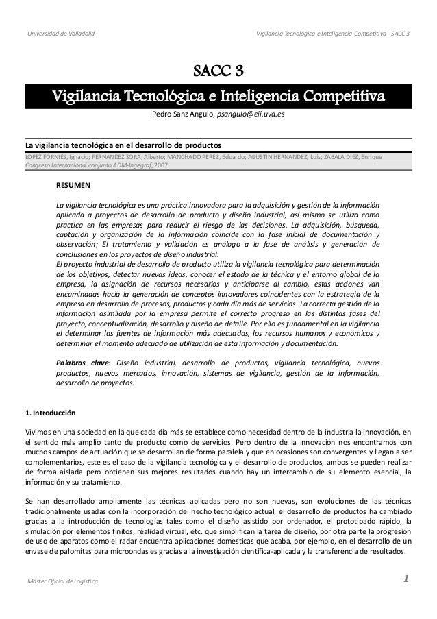 Universidad de Valladolid Vigilancia Tecnológica e Inteligencia Competitiva - SACC 3 SACC 3 Vigilancia Tecnológica e Intel...