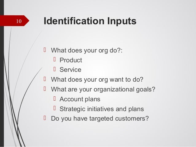 10  Identification Inputs  What does your org do?:  Product  Service  What does your org want to do?  What are your o...