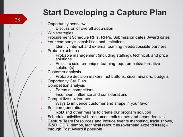 Business development for small government contracting companies score 28 start developing a capture plan wajeb Gallery