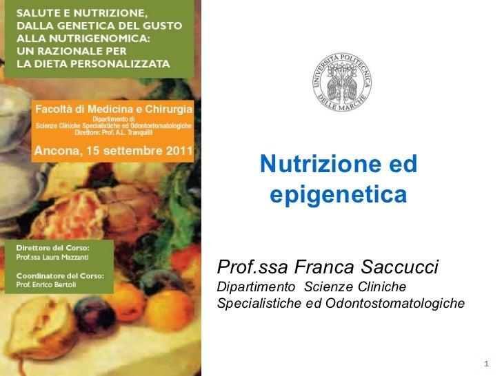  Nutrizione ed epigenetica Prof.ssa Franca Saccucci Dipartimento  Scienze Cliniche Specialistiche ed Odontostomatologiche