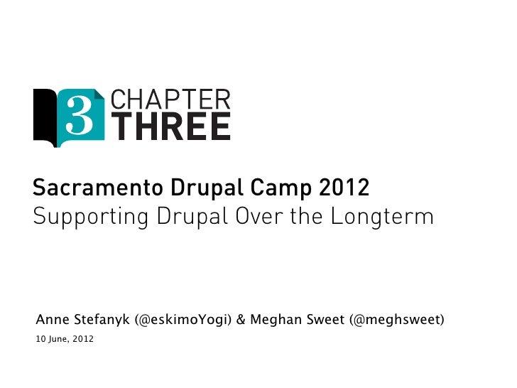 Sacramento Drupal Camp 2012Supporting Drupal Over the LongtermAnne Stefanyk (@eskimoYogi) & Meghan Sweet (@meghsweet)10 Ju...
