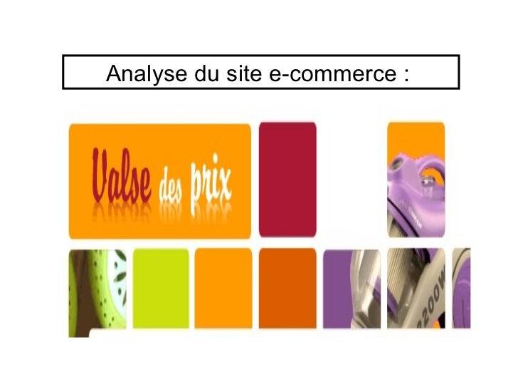 Analyse du site e-commerce: