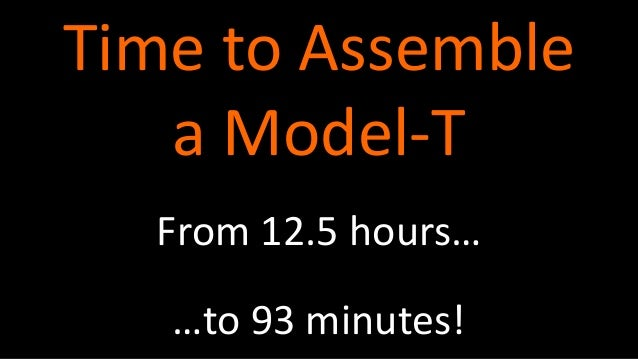 From 12.5 hours… Time to Assemble a Model-T …to 93 minutes!