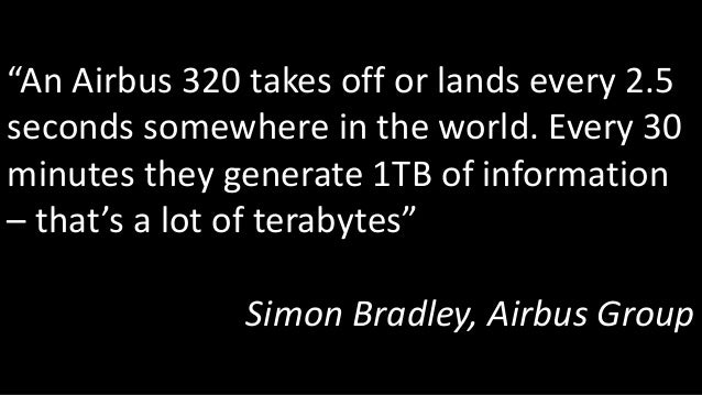 """""""An Airbus 320 takes off or lands every 2.5 seconds somewhere in the world. Every 30 minutes they generate 1TB of informat..."""