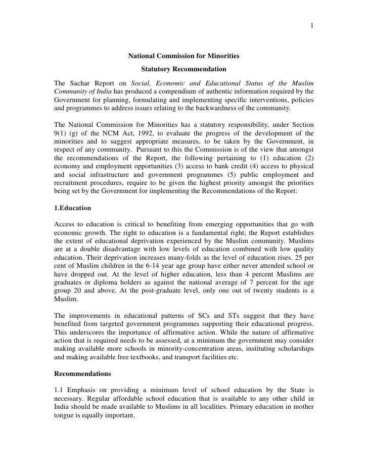 1                             National Commission for Minorities                              Statutory Recommendation The...