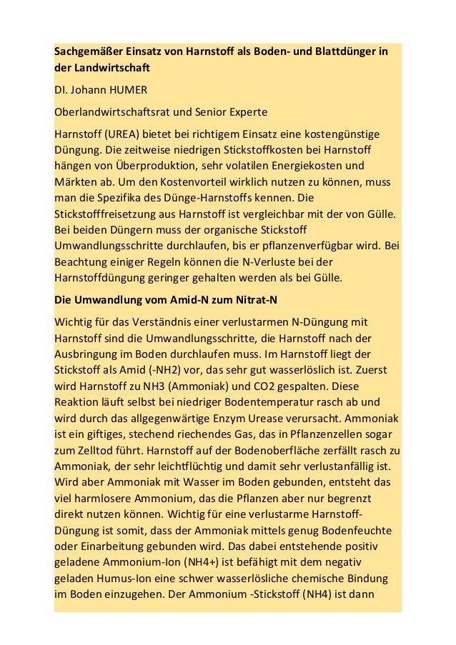 Sachgemäßer Einsatz von Harnstoff als Boden- und Blattdünger in der Landwirtschaft DI. Johann HUMER Oberlandwirtschaftsrat...