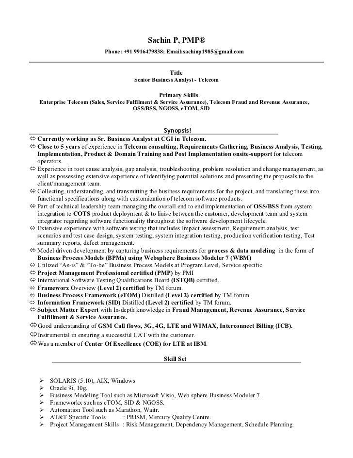 Sample Cv Of Telecom Business Analyst Telecom Billing Analyst
