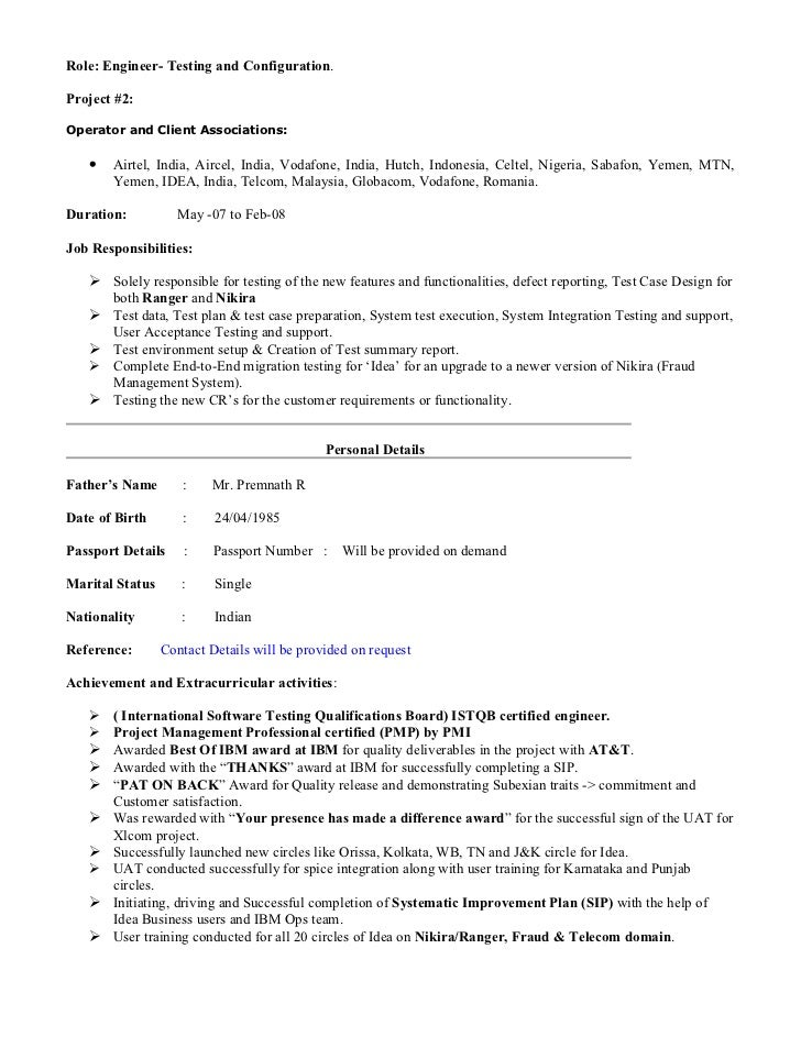 resume engineer telecommunication