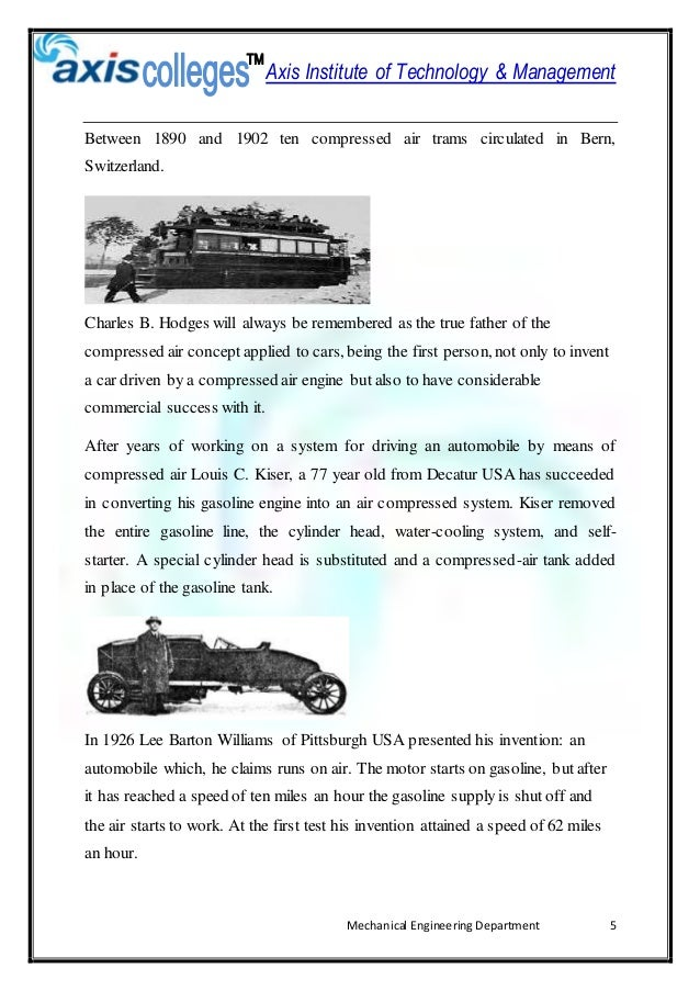 report of air powered cars