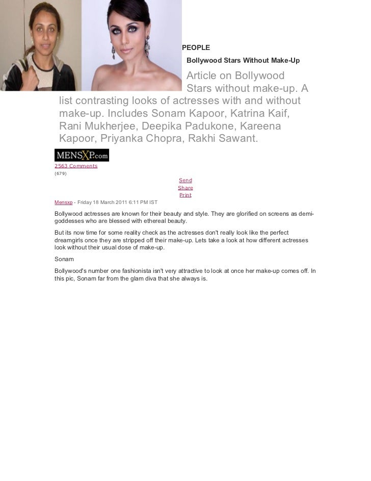 PEOPLE                                                 Bollywood Stars Without Make-Up                              Articl...