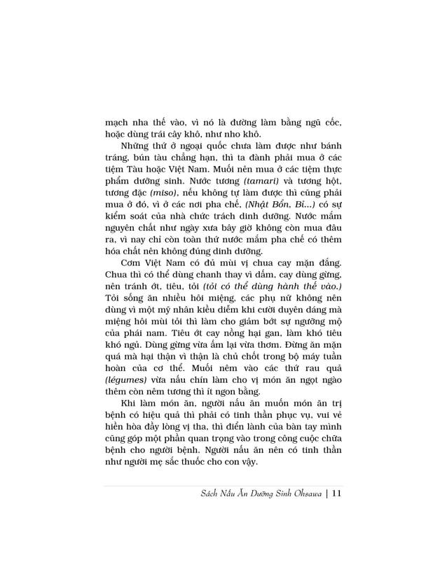 Sách Nấu Ăn Dưỡng Sinh Ohsawa | 11mạch nha thế vào, vì nó là đường làm bằng ngũ cốc,hoặc dùng trái cây khô, như nho khô.Nh...