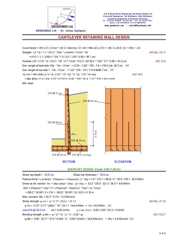 SachpazisCANTILEVER RETAINING WALL Analysis DESIGN Example Accordi