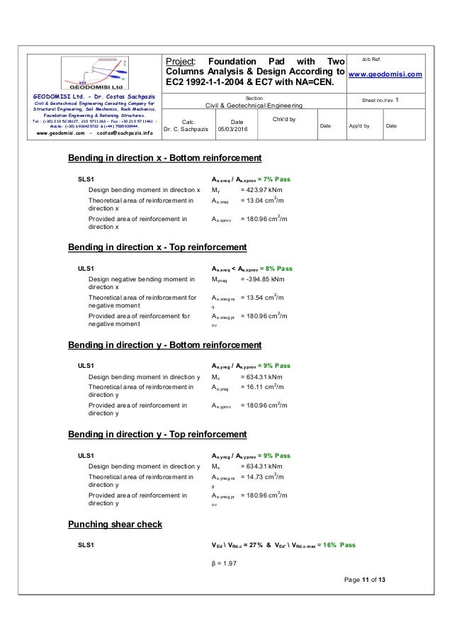 Sachpazis Foundation Pad with Two Columns Analysis ...