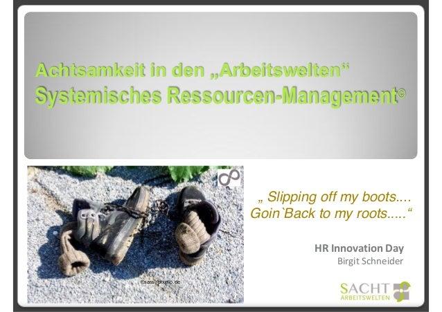 """Achtsamkeit in den """"Arbeitswelten"""" Systemisches Ressourcen-Management© HR Innovation Day Birgit Schneider ©sassi/pixelio.d..."""
