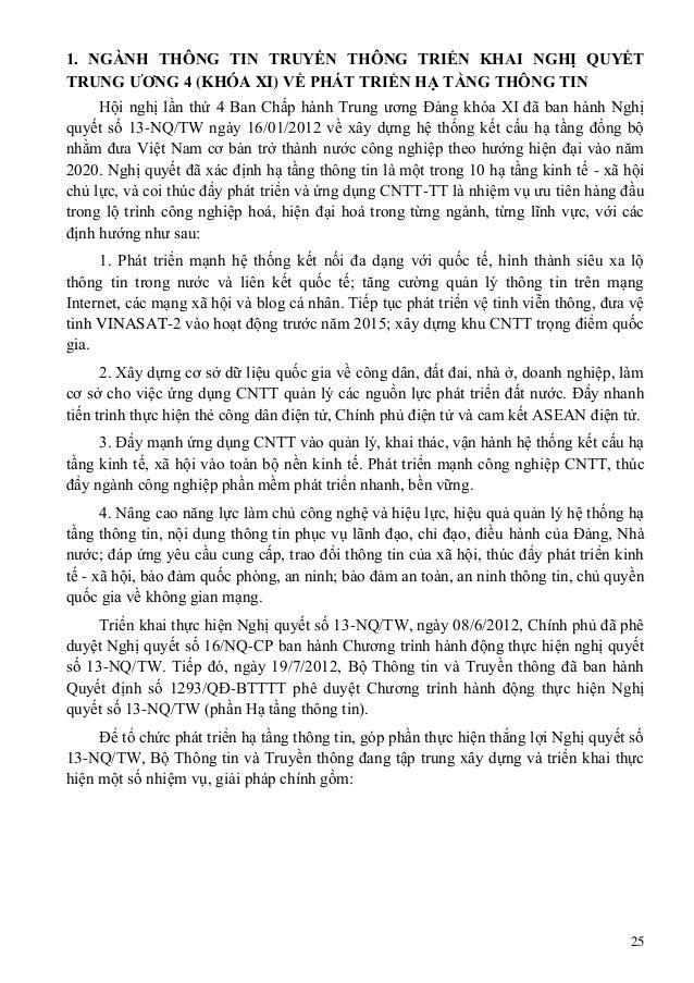 25 1. NGÀNH THÔNG TIN TRUYỀN THÔNG TRIỂN KHAI NGHỊ QUYẾT TRUNG ƢƠNG 4 (KHÓA XI) VỀ PHÁT TRIỂN HẠ TẦNG THÔNG TIN Hội nghị l...
