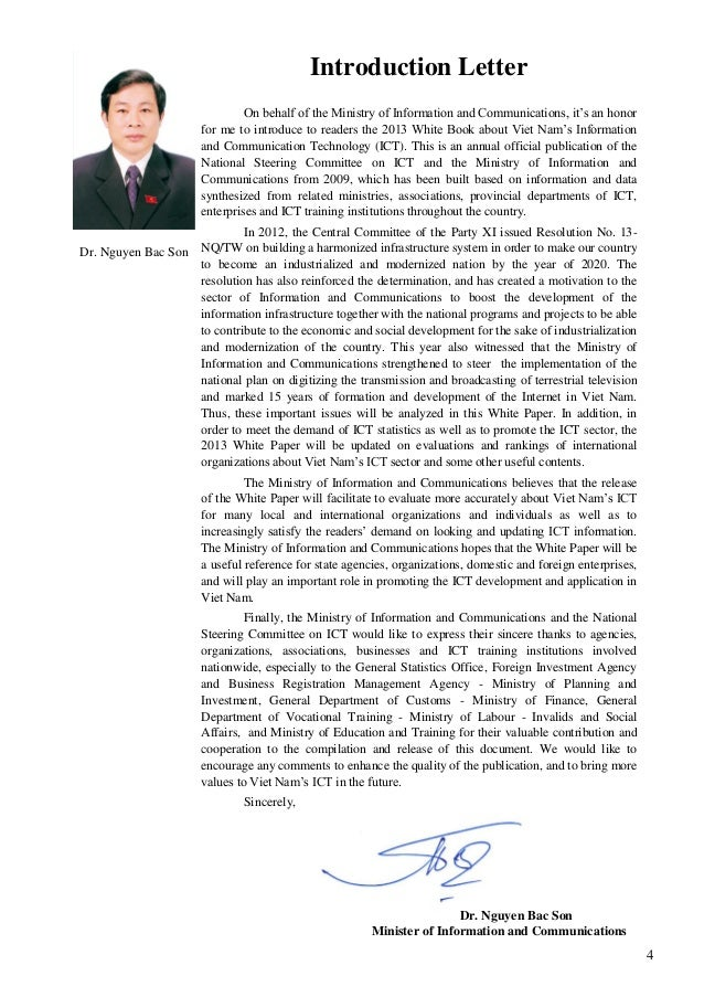 4 Dr. Nguyen Bac Son Introduction Letter On behalf of the Ministry of Information and Communications, it's an honor for me...