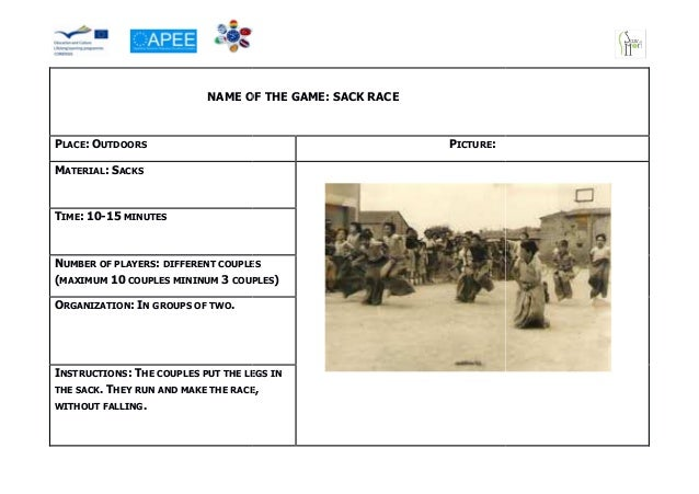 NAME OF THE GAME: SA                                             SACK RACEPLACE: OUTDOORS                                 ...