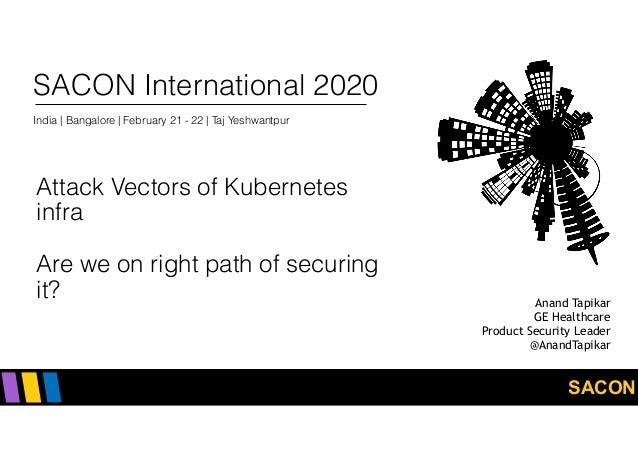 SACON SACON International 2020 India   Bangalore   February 21 - 22   Taj Yeshwantpur Attack Vectors of Kubernetes infra ...