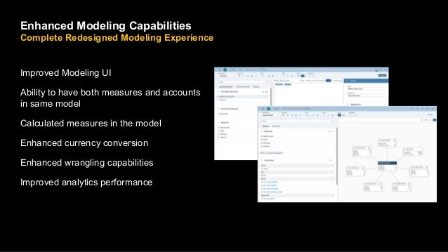 Improved Modeling UI Ability to have both measures and accounts in same model Calculated measures in the model Enhanced cu...