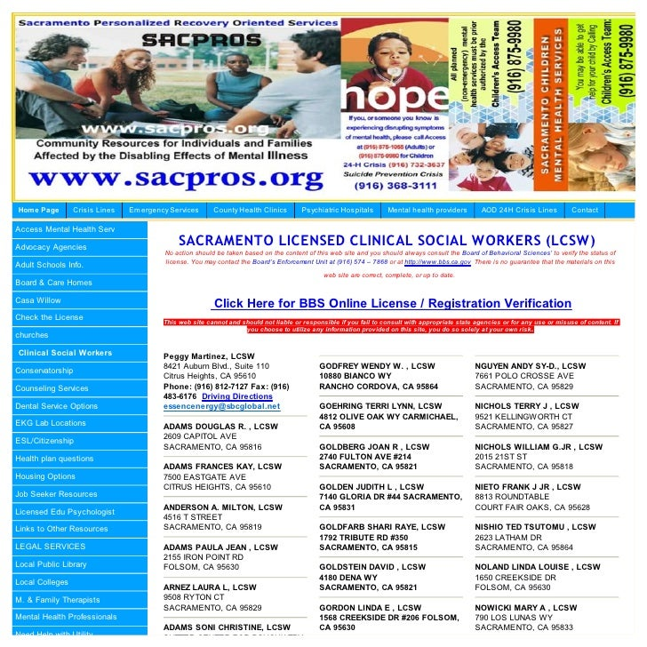 Sacramento County Licensed Clinical Social Workers