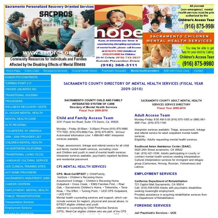 Sacramento County Mental Health Providers