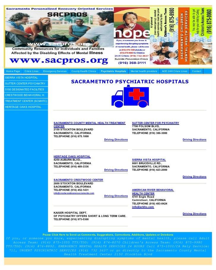 Sacramento County Psychiatric Hospitals