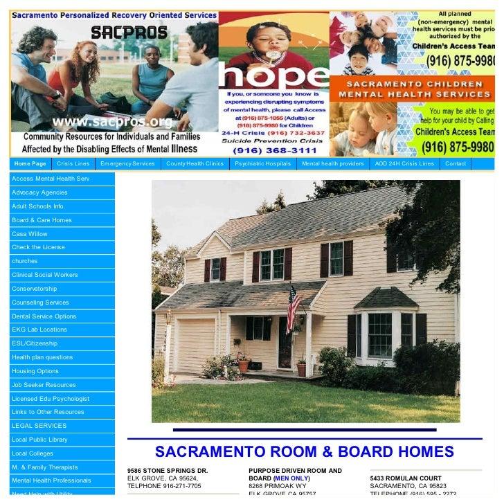 Sacramento County Room Board Homes