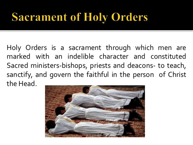 "sacrament of holy order ""the sacrament of apostolic ministry by which the mission entrusted by christ to his apostles continues to be exercised in the church through the laying on of hands."