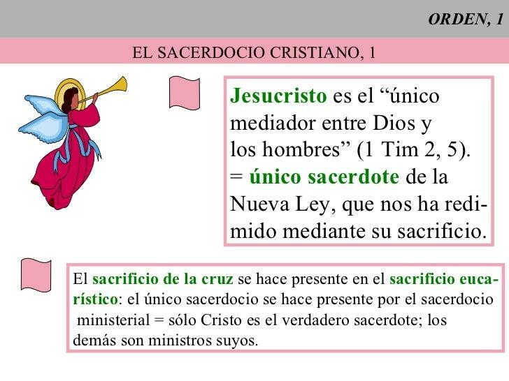 """ORDEN, 1 EL SACERDOCIO CRISTIANO, 1 Jesucristo  es el """"único mediador entre Dios y los hombres"""" (1 Tim 2, 5). =  único sac..."""