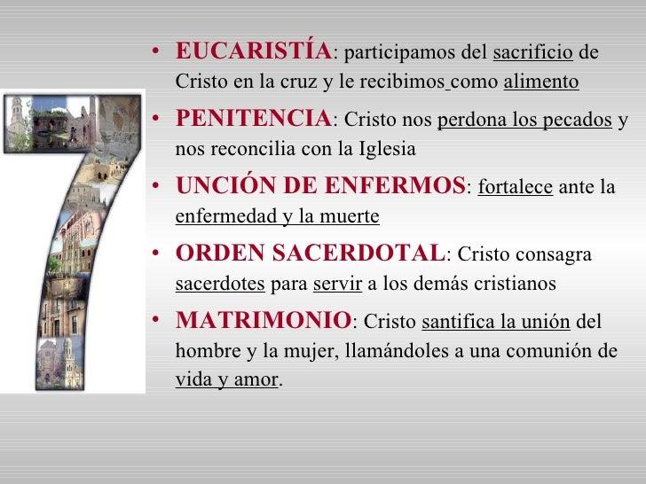 <ul><li>EUCARISTÍA : participamos del  sacrificio  de Cristo en la cruz y le recibimos   como  alimento </li></ul><ul><li>...