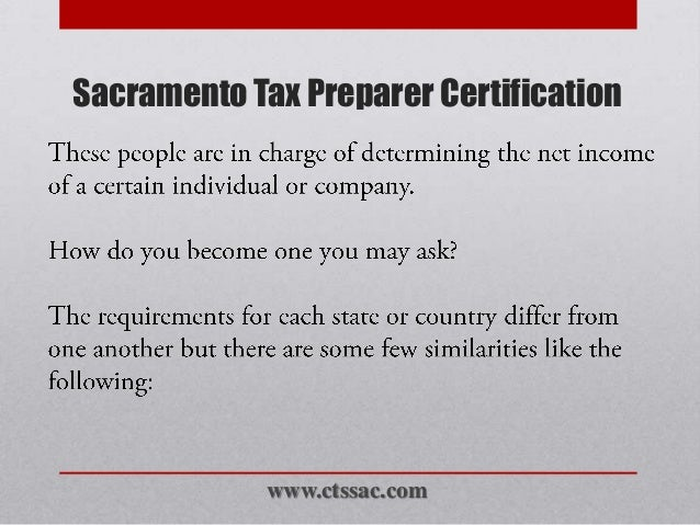 sacramento tax preparer certification