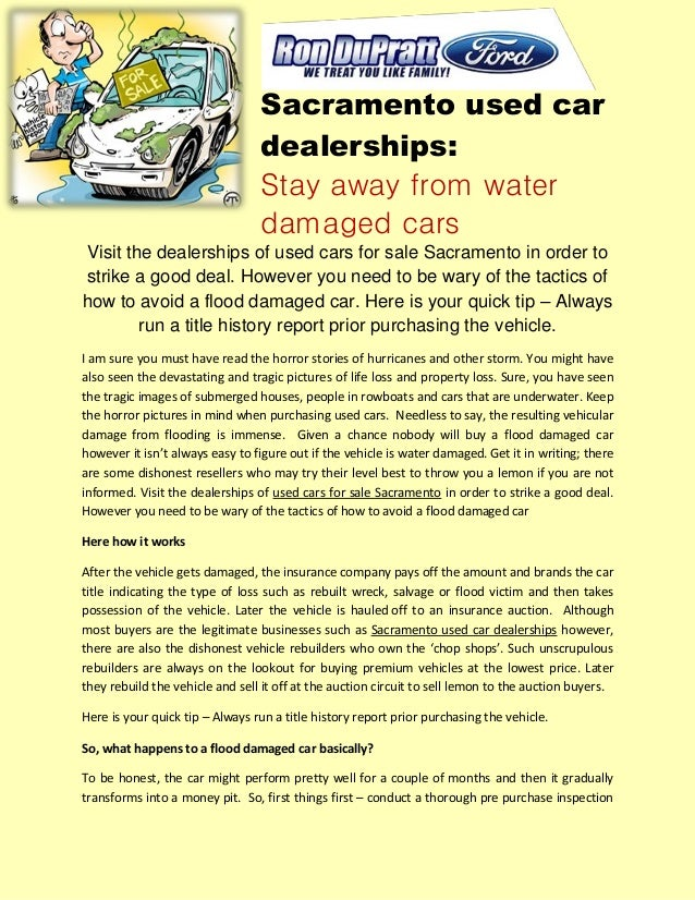 Sacramento used car dealerships stay away from water damaged cars