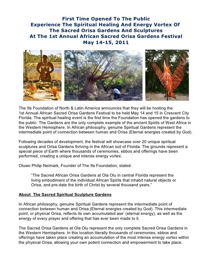 First Time Opened To The Public      Experience The Spiritual Healing And Energy Vortex Of             The Sacred Orisa Ga...