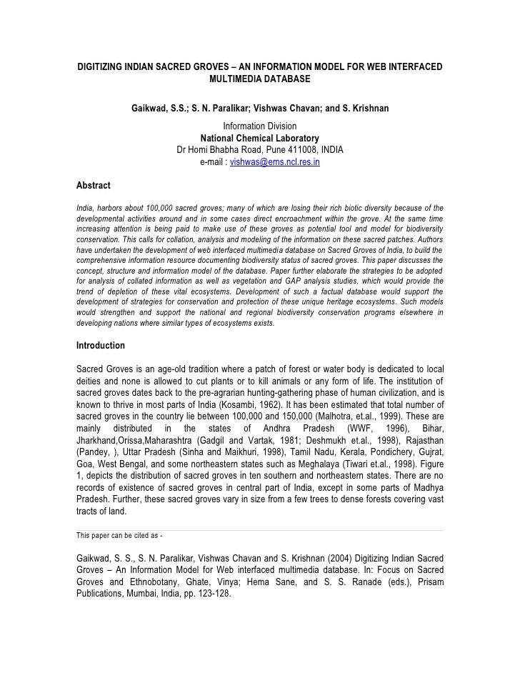DIGITIZING INDIAN SACRED GROVES – AN INFORMATION MODEL FOR WEB INTERFACED                             MULTIMEDIA DATABASE ...