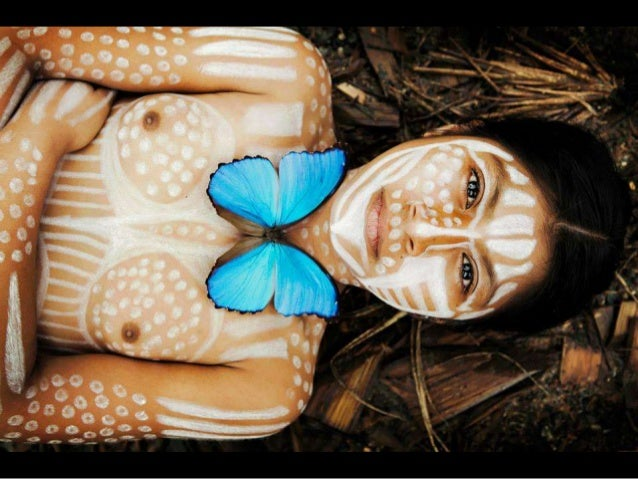 "The art of transforming ourselves with make-up, masks, and ""jewelry"" [here in the form of nature, using flora and insects]..."