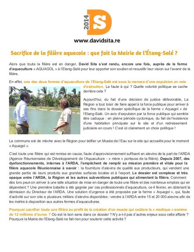 Sacrifice de la filière aquacole : que fait la Mairie de l'Étang-Salé ? Alors que toute la filière est en danger, ...