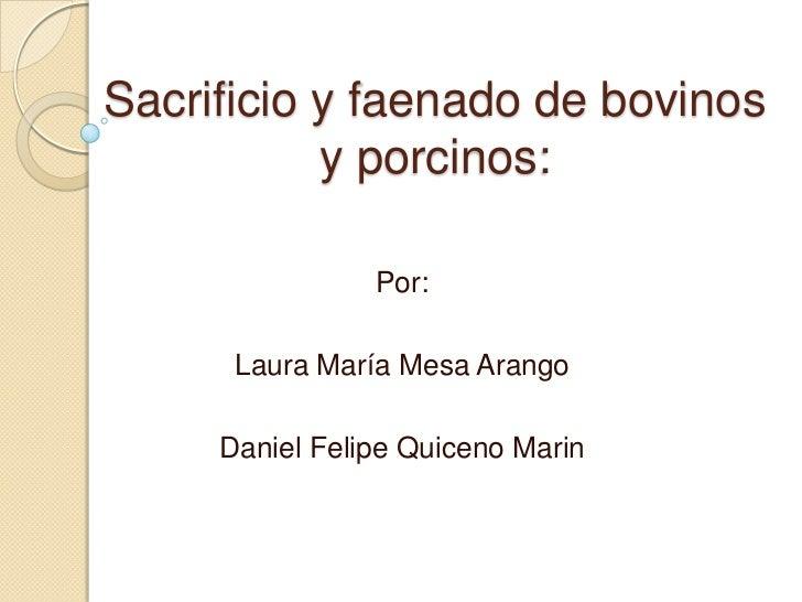 Sacrificio y faenado de bovinos y porcinos:<br />Por:<br />Laura María Mesa Arango<br />Daniel Felipe Quiceno Marin<br />