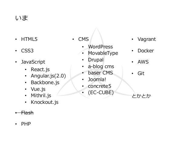 いま • HTML5 • CSS3 • JavaScript • React.js • Angular.js(2.0) • Backbone.js • Vue.js • Mithril.js • Knockout.js • Flash • PH...