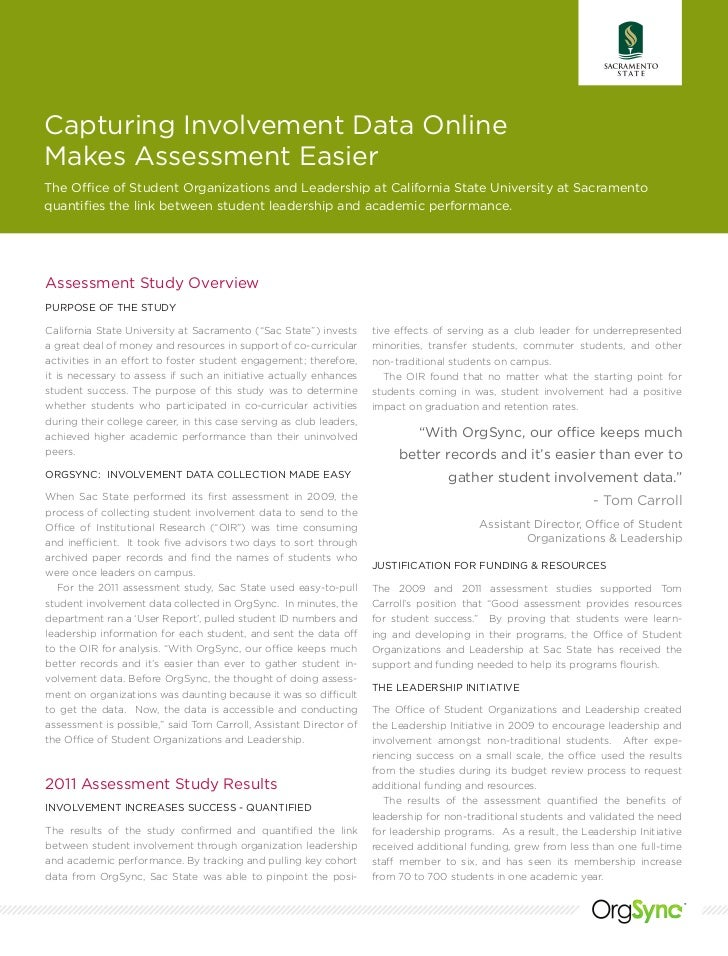 Capturing Involvement Data OnlineMakes Assessment EasierThe Office of Student Organizations and Leadership at California S...