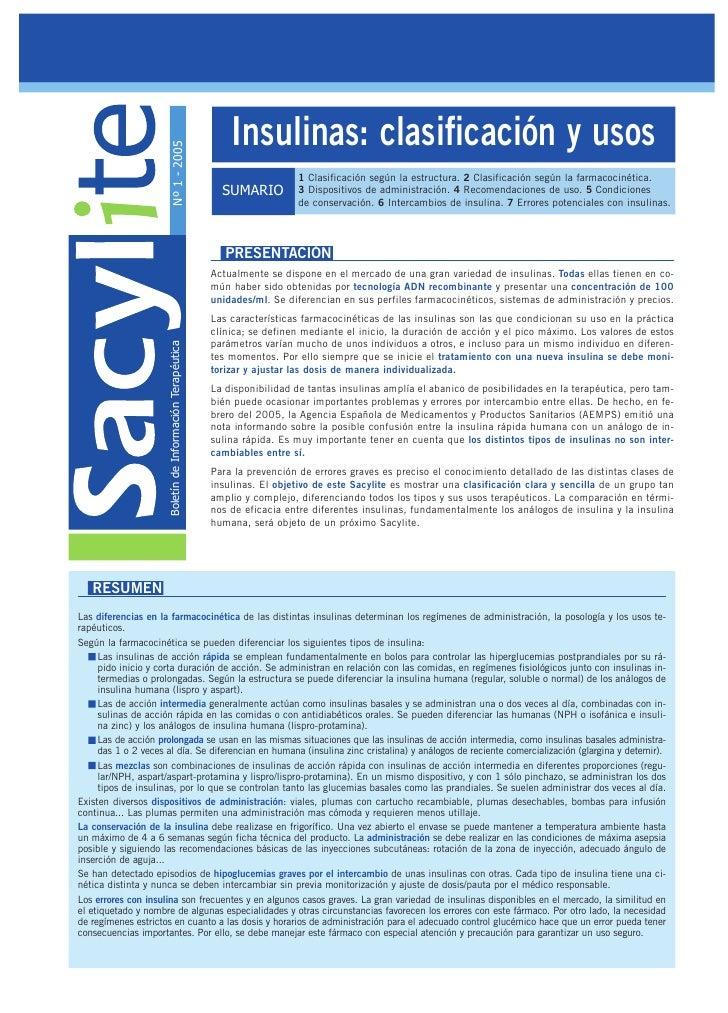 Insulinas: clasificación y usos                         Nº 1 - 2005                                         1 Clasificació...