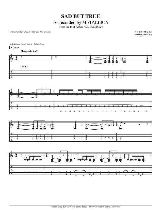 Metallica Sad but-true guitar tab