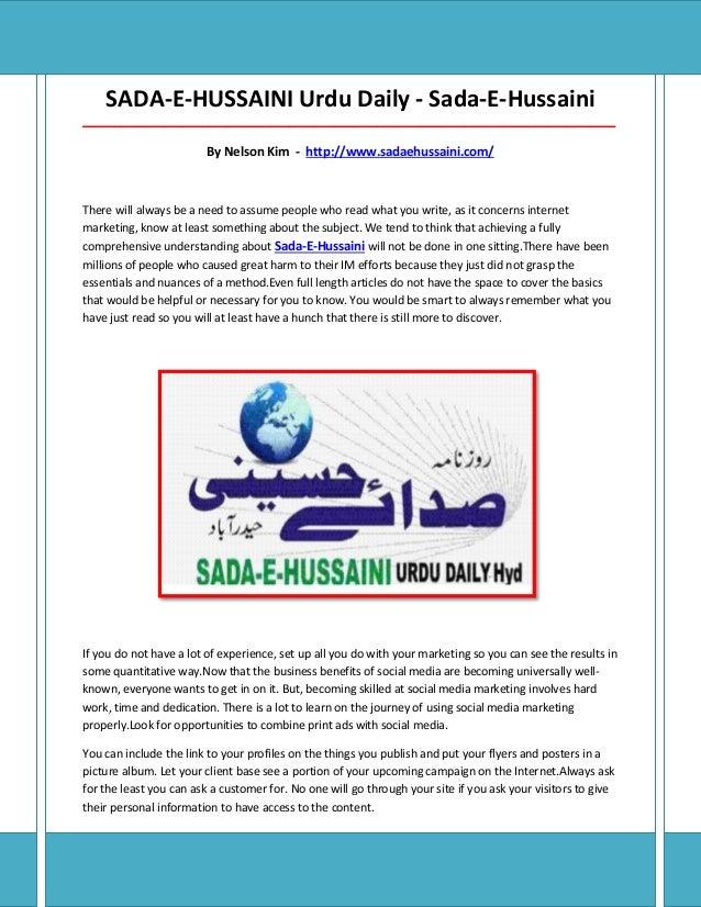SADA-E-HUSSAINI Urdu Daily - Sada-E-Hussaini______________________________________________________________________________...