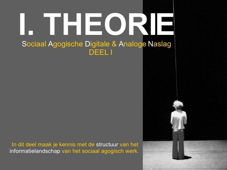 I. THEORIE S ociaal  A gogische   D igitale   &  A naloge   N aslag DEEL   I In dit deel maak je kennis met de  structuur ...