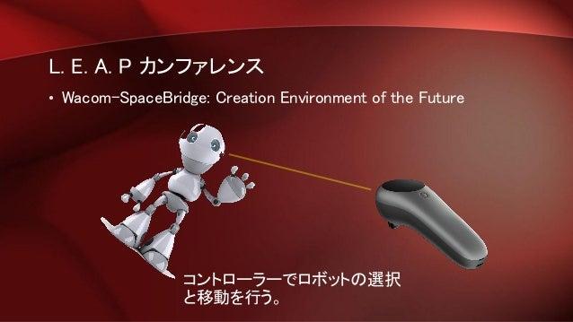 L. E. A. P カンファレンス • Wacom-SpaceBridge: Creation Environment of the Future コントローラーでロボットの選択 と移動を行う。