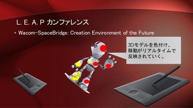 L. E. A. P カンファレンス • Wacom-SpaceBridge: Creation Environment of the Future 3Dモデルを色付け、 移動がリアルタイムで 反映されていく。
